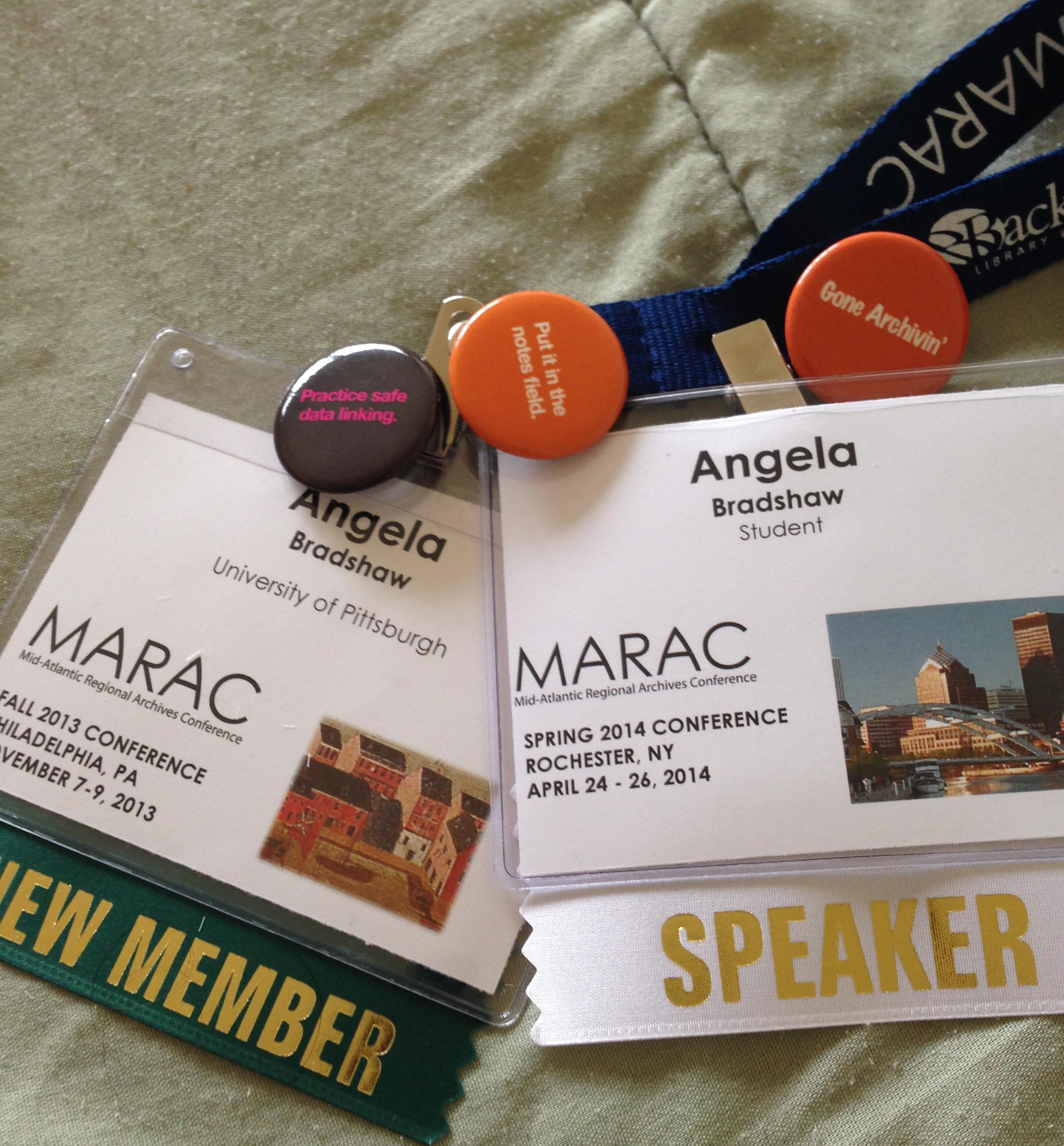 MARAC name tags and pins